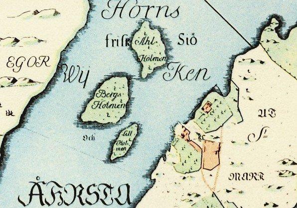 Karta över Årsta holmar - Petrus Tillaeus karta från 1733. Norr är till höger. Kartan är bättre än Google maps, som bara visar Årsta holmar som en ö, när det egentligen är tre.