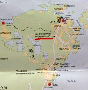 Karta till Möja gästhem