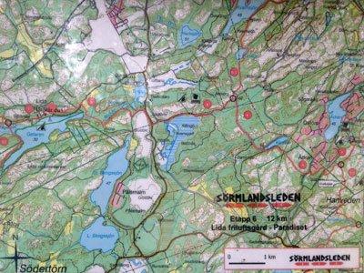 Karta över Sörmlandsleden etapp 6 - Lida till Paradiset