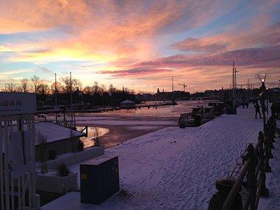 Solnedgång Strandvägen.