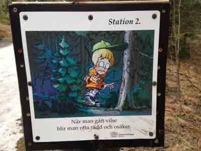 Station 2. När man gått vilse blir man ofta rädd och osäker.