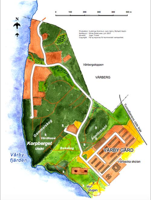 Karta korpberget i Huddinge