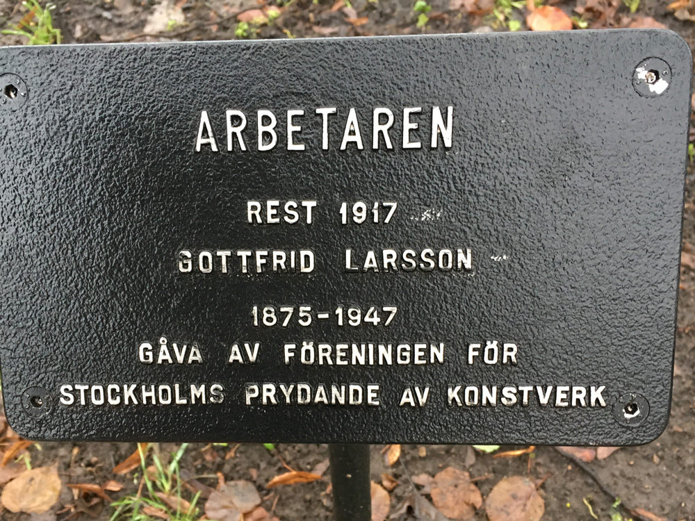 Arbetaren, Gottfrid Larsson, Vasaparken skylt