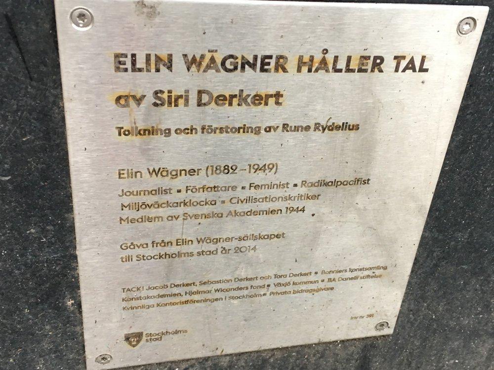 Elin Wägner håller tal, Siri Derkert, St Eriksplan Skylt