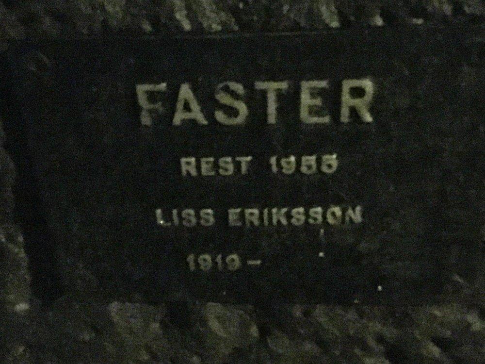 Faster, Liss Eriksson, staty Västertorp