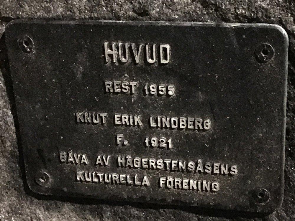 Huvud, Knut Erik Lindberg, Västertorp skylt