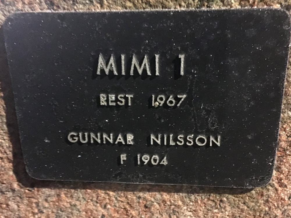 Mimi 1, Gunnar Nilsson, Karlavägen skylt