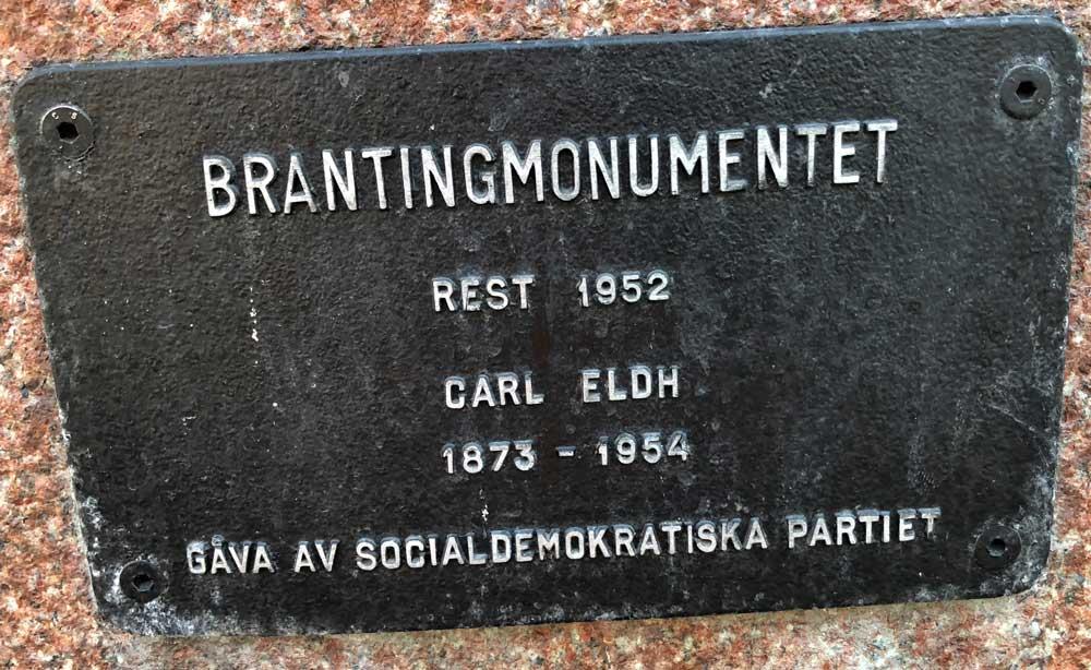 Brantingmonumentet, Carl Eldh, Norra bantorget, Norrmalm