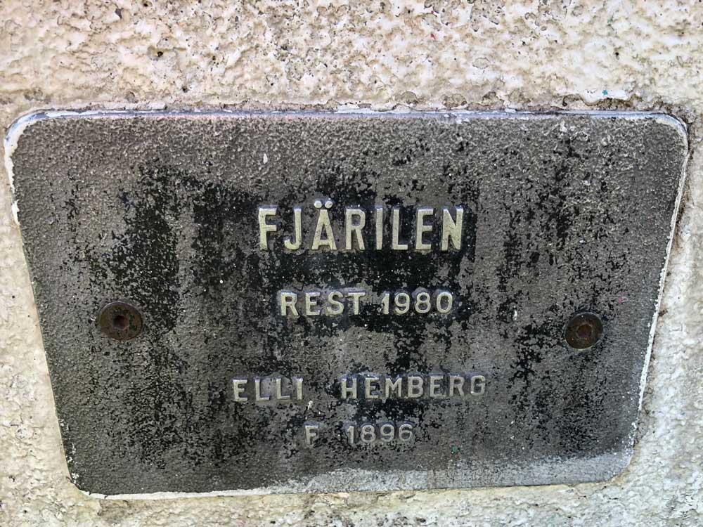 Fjärilen, Elli Hemberg, Rålanmbshovsparken
