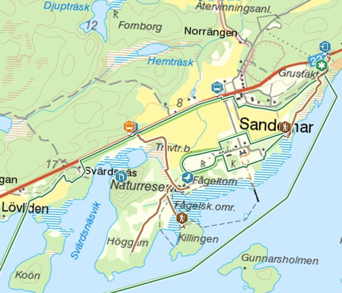 Karta Sandemar naturreservat
