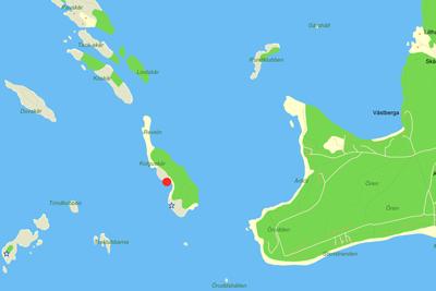 Karta till tältplatsen på Kolgnskär.