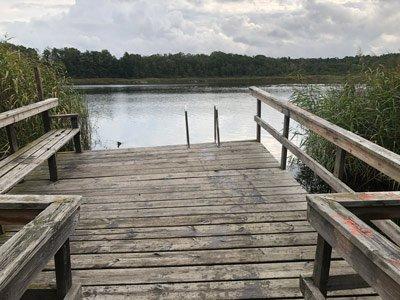 Badbrygga i Kyrksjölötens naturreservat.