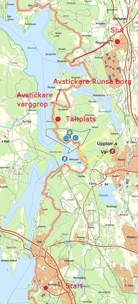 Karta över 2 dagars vandring