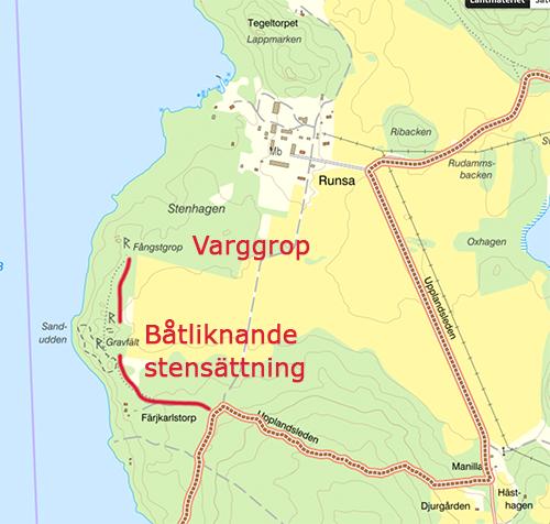 Karta till varggrop och stenlämning