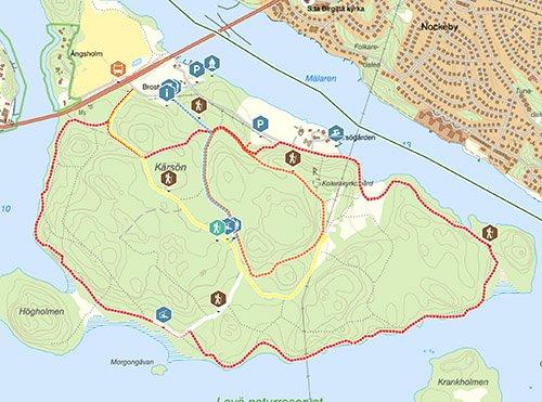 Karta över Kärsöleden vandring
